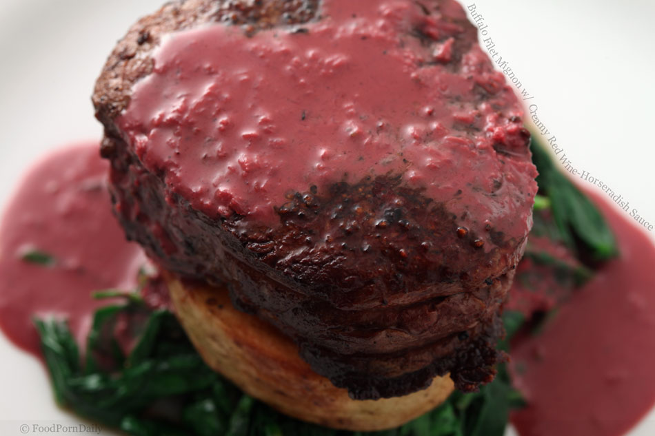 Buffalo Filet Mignon with Creamy Red Wine-Horseradish Sauce