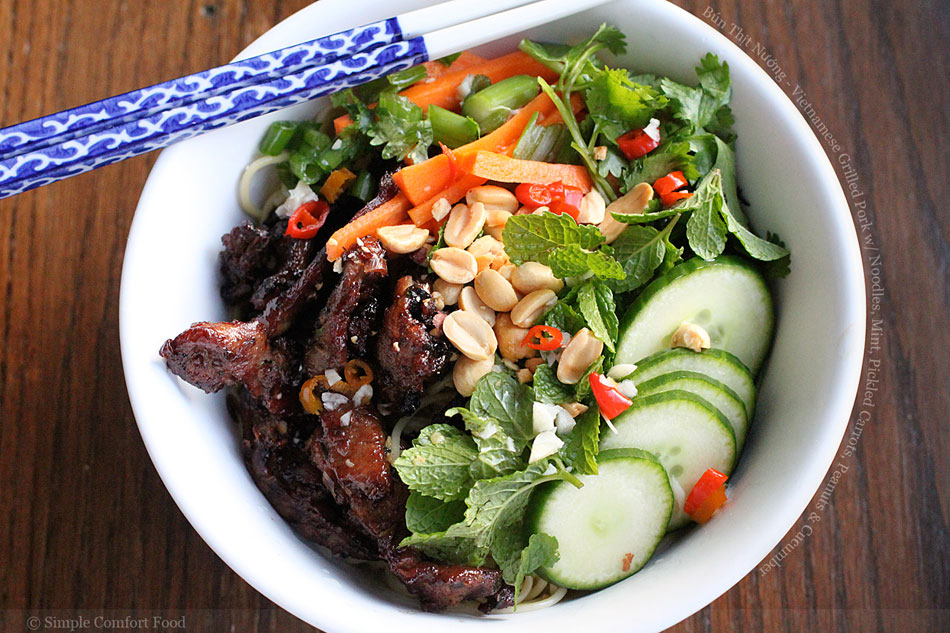 Bún Thịt Nướng – Vietnamese Grilled Pork with Noodles, Mint, Pickled Carrots, Peanuts and Cucumber