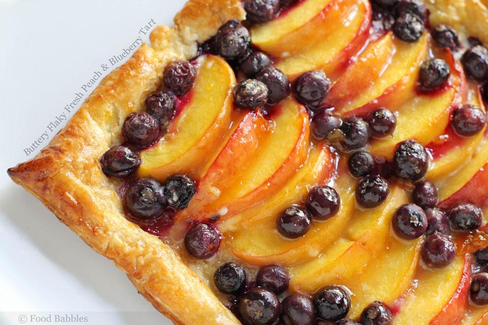 Buttery Flaky Fresh Peach and Blueberry Tart