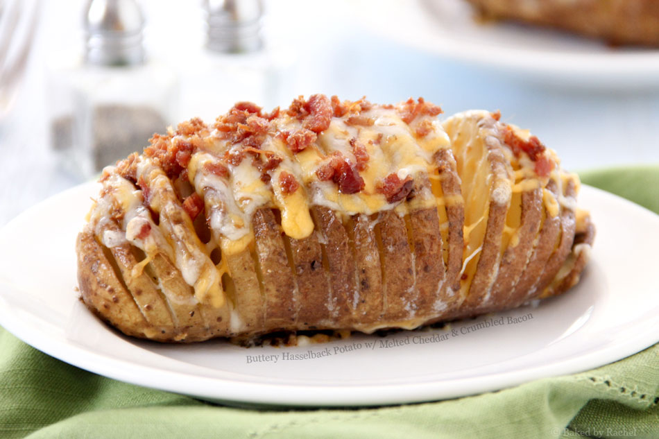 Buttery Hasselback Potato with Melted Cheddar and Crumbled Bacon