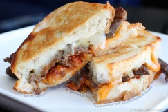 Buttery Korean Style Grilled Cheese Sandwich with Ginger-Garlic Marinated Beef, Kimchi, Cheddar and Havarti