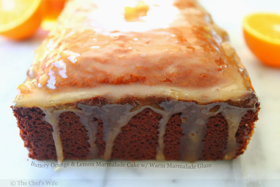 Buttery Orange and Lemon Marmalade Cake with Warm Marmalade Glaze