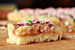 Buttery Shortbread with Creamy Salted Caramel, Swirled Chocolate and Crushed Candy Cane