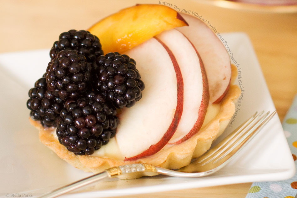 Buttery Tart Shell Filled with Vanilla Bean Pastry Cream and Fresh Blackberries and Nectarines