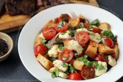 Caprese Panzanella – Focaccia Croutons, Fresh Mozzarella, Tomatoes, Basil and Red Onions Toss in Balsamic Vinaigrette