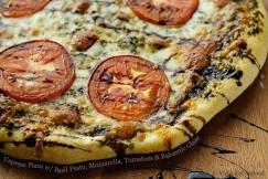 Caprese Pizza with Basil Pesto, Mozzarella, Tomatoes and Balsamic Glaze