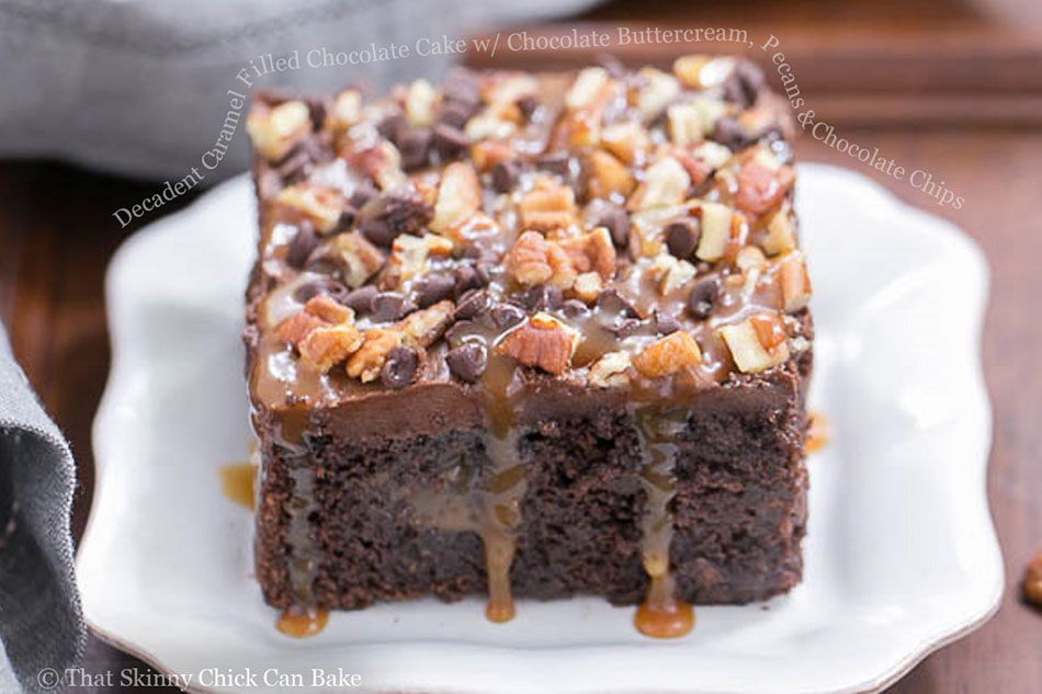 Decadent Caramel Filled Chocolate Cake with Chocolate Buttercream, Pecans and Chocolate Chips