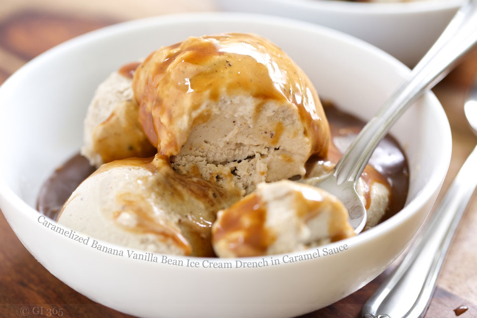 Caramelized Banana Vanilla Bean Ice Cream Drench in Caramel Sauce
