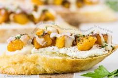 Caramelized Butternut Squash Crostini with Whipped Feta, Za'atar and Tahini
