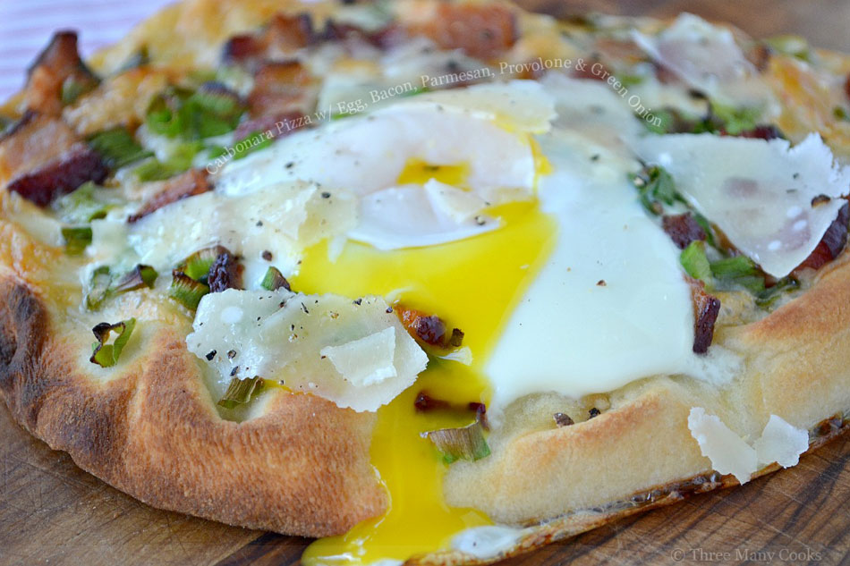 Carbonara Pizza with Egg, Bacon, Parmesan, Provolone and Green Onion