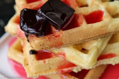 Champagne and Rosewater Waffles with Chocolate Butter an Blood Orange Syrup