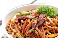 Char Sui – Chinese Bbq Style Pork and Udon Noodle Stirfry with Carrots, Peppers and Onions