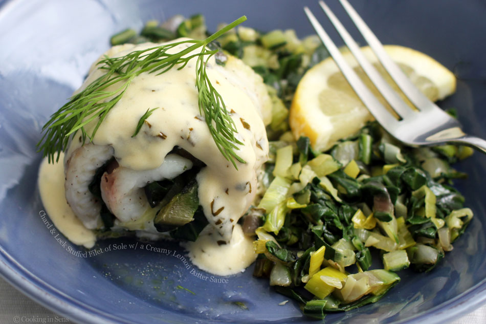 Chard and Leek Stuffed Filet of Sole with a Creamy Lemon Butter Sauce