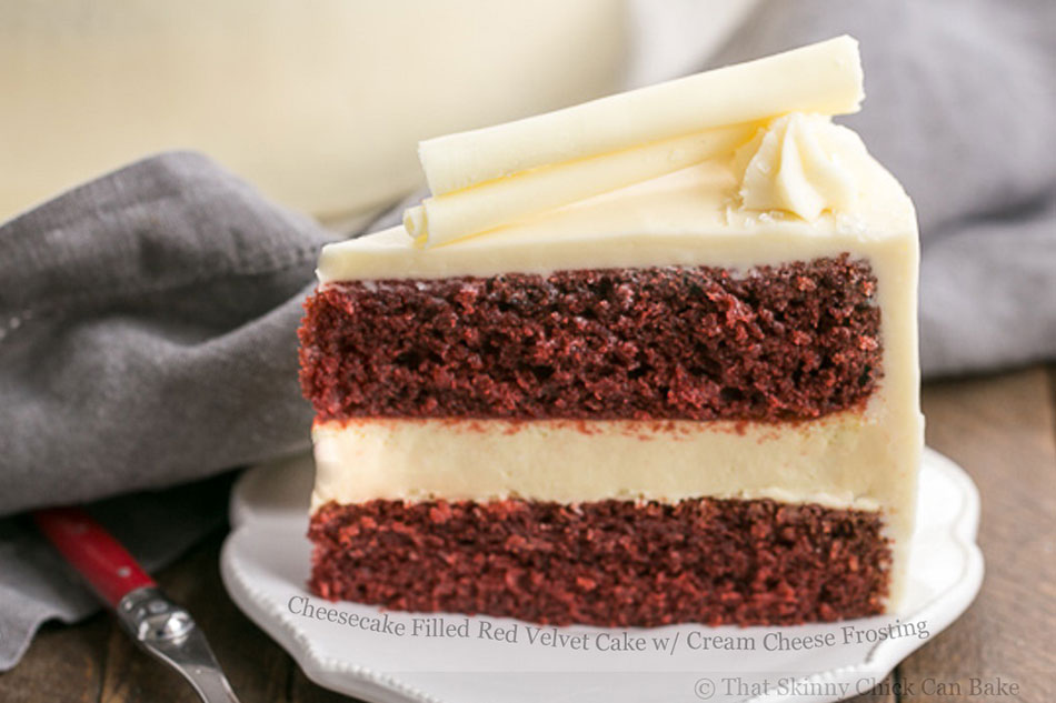 Cheesecake Filled Red Velvet Cake with Cream Cheese Frosting