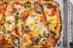 Cheesy Cauliflower Pizza with Pepperoni, Mushrooms, Basil and Leeks