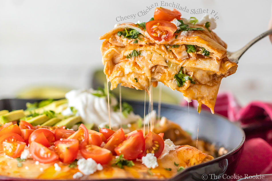 Cheesy Chicken Enchilada Skillet Pie