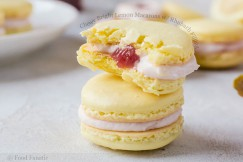 Chewy Bright Lemon Macarons with Rhubarb Filling