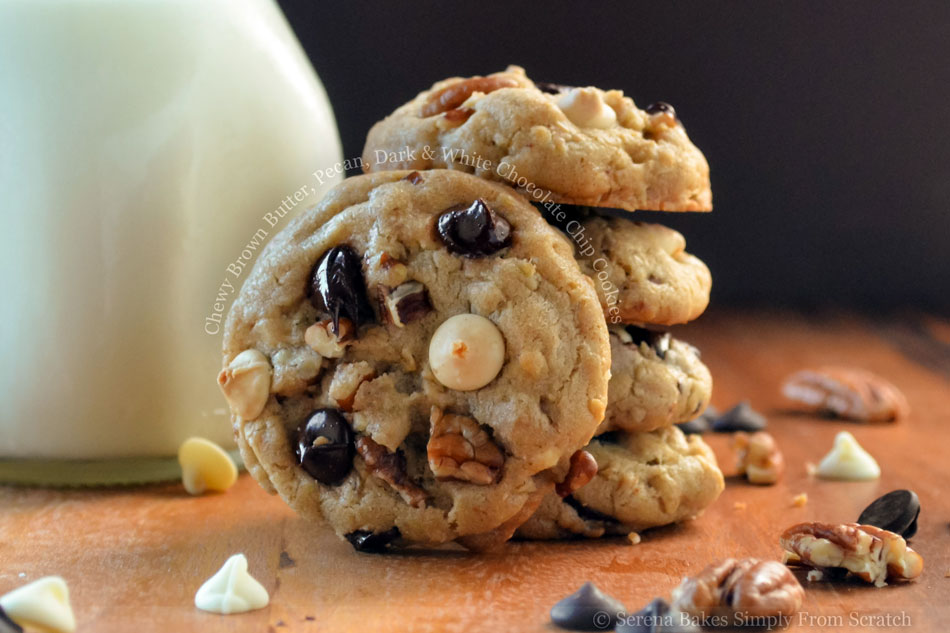 Chewy Brown Butter, Pecan, Dark and White Chocolate Chip Cookies