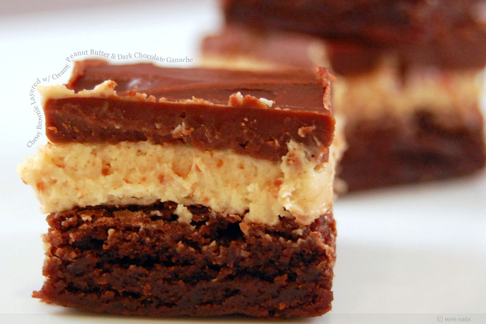 Chewy Brownie Layered with Creamy Peanut Butter and Dark Chocolate Ganache