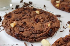 Chewy Chocolate Cookies with Dark Chocolate, Cranberries and Macadamia Nuts