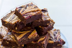 Chewy, Fudgy Decadent Peanut Butter and Jelly Swirled Brownies