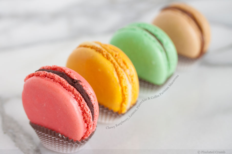 Chewy Raspberry, Lemon, Pistachio and Coffee Parisian Macarons