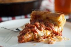 Chicago Style Deep Dish Pizza with Mozzarella and Sausage