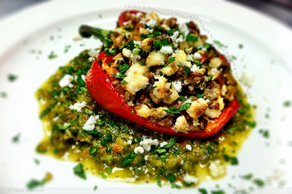 Chicken and Queso Fresco Stuffed Red Peppers with Roasted Poblano and Tomatillo Salsa