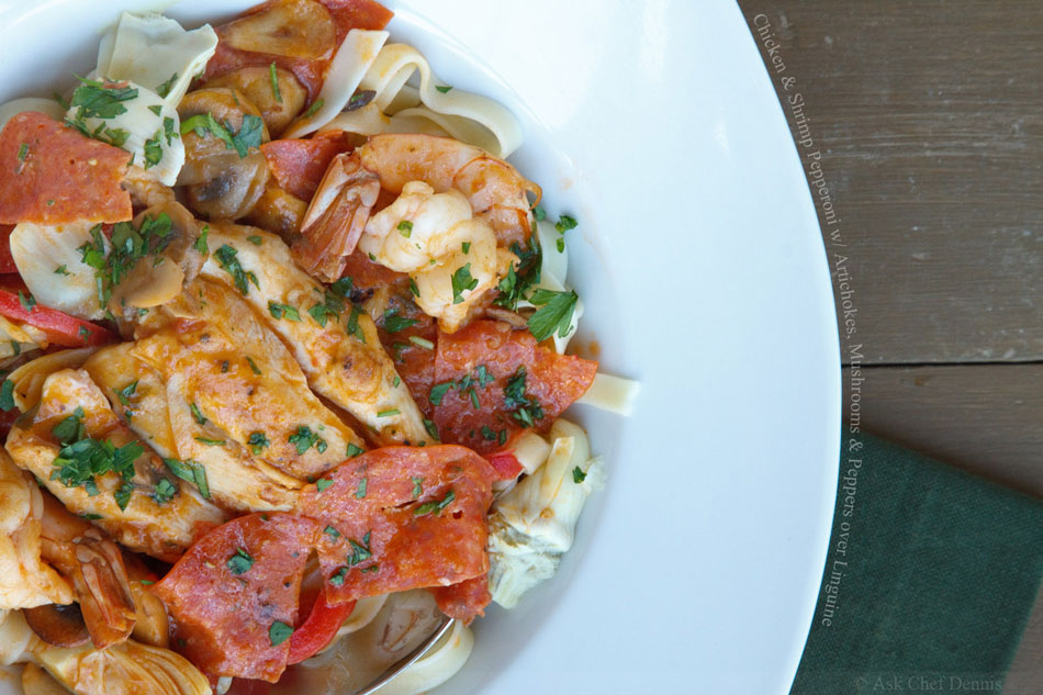 Chicken and Shrimp Pepperoni with Artichokes, Mushrooms and Peppers over Linguine