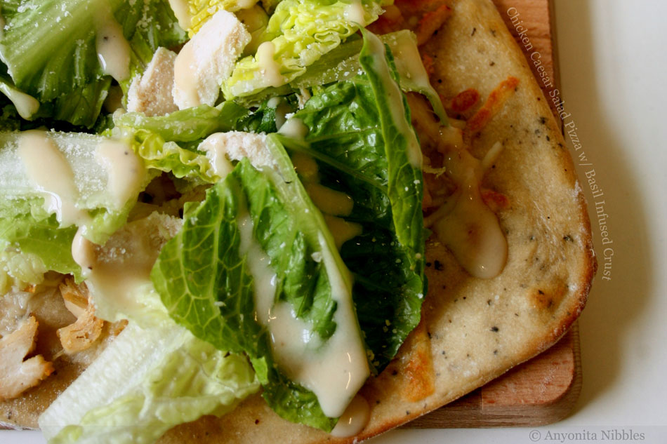 Chicken Caesar Salad Pizza with Basil Infused Crust