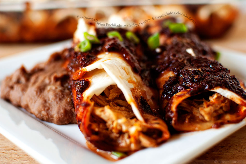 Succulent Chicken Enchiladas with Spicy, Smokey and Sweet Chile Colorado Sauce