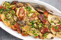 Chicken Marsala with Sun-Dried Tomatoes, Cremini Mushrooms and Peas