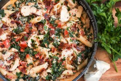 Chicken, Spinach and Bacon Pasta in a Savory Garlic Cream Sauce