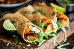 Chicken Tikka with Tomato, Coconut and Mint Chutneys Wrapped in Dosa