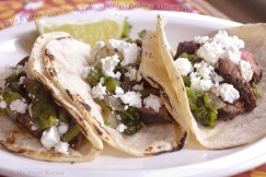 Chile and Cocoa Spiced Steak Tacos with Grilled Poblano and Onion Salsa