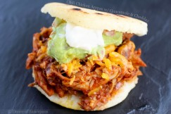 Chili Chicken Arepas with Guacamole and Cheddar