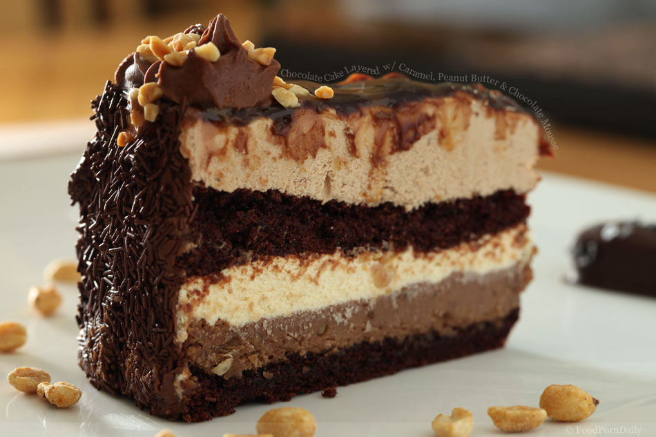 Chocolate Cake Layered with Caramel, Peanut Butter and Chocolate Mousse