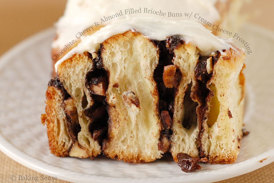 Chocolate, Cherry and Almond Filled Brioche Buns with Cream Cheese Frosting