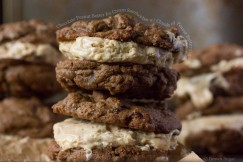 Chocolate Peanut Butter Ice Cream Sandwiches with Chunks of Peanut Butter Cups