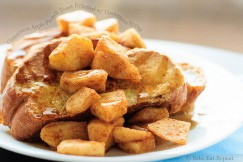Cinnamon Apple French Toast Drizzled with Cinnamon Syrup