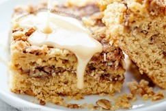 Cinnamon Pecan Streusel Filled Coffee Cake Drizzled with Maple Glaze
