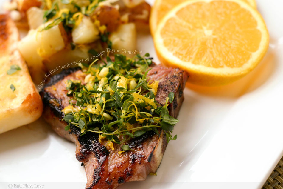 Citrus Grilled Lamb Chops with Orange-Thyme Gremolata