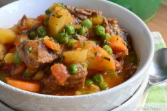 Classic Hearty Beef Stew with Potatoes, Carrots, Parsnips and Peas