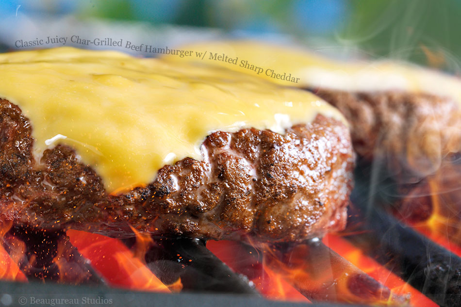 Classic Juicy Char-Grilled Beef Hamburger with Melted Sharp Cheddar