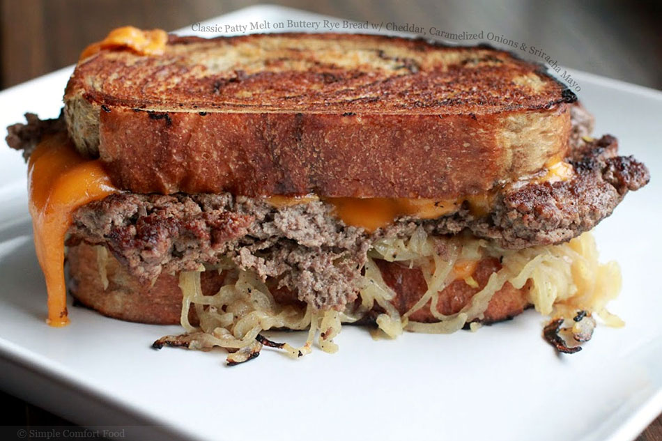 Classic Patty Melt on Buttery Rye Bread with Cheddar, Caramelized ...