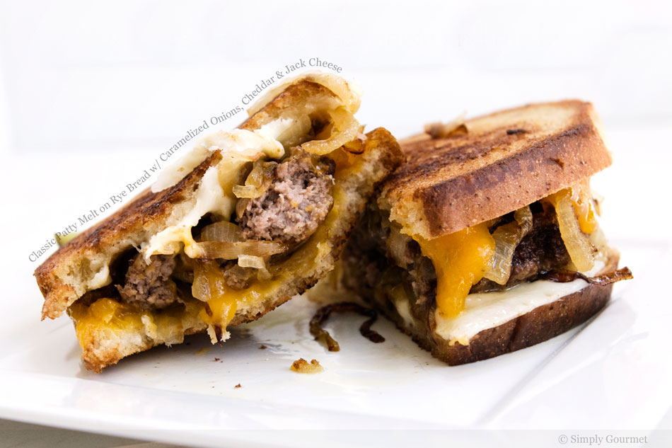 Classic Patty Melt on Rye Bread with Caramelized Onions, Cheddar and Jack Cheese