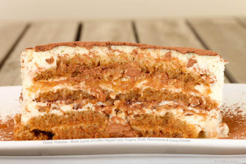 Classic Tiramisu – Moist Layers of Coffee Dipped Lady Fingers, Fluffy Mascarpone & Cocoa Powder
