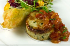 Corn and Crab Cake, Heirloom Tomato Relish, Tempura Squash Blossom, Petit Greens with Shallot-Thyme Vinaigrette