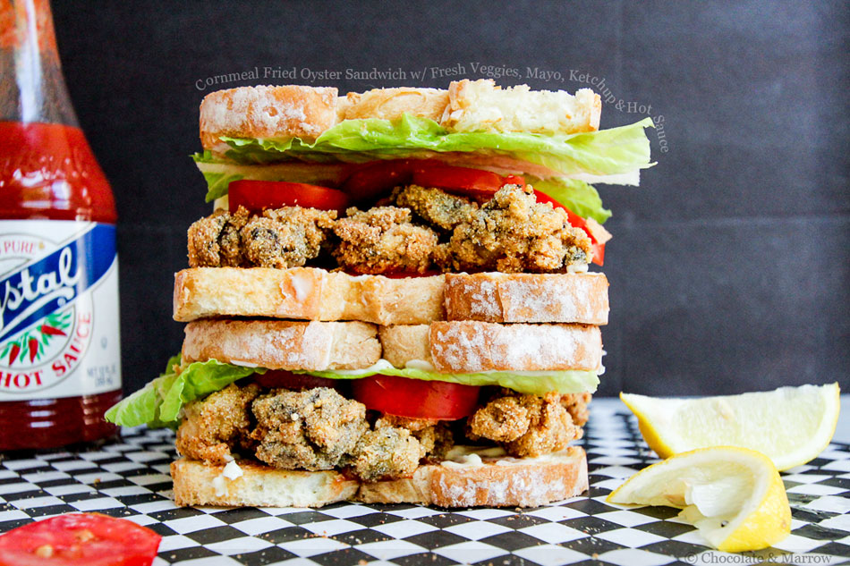 Cornmeal Fried Oyster Sandwich with Fresh Veggies, Mayo, Ketchup and Hot Sauce