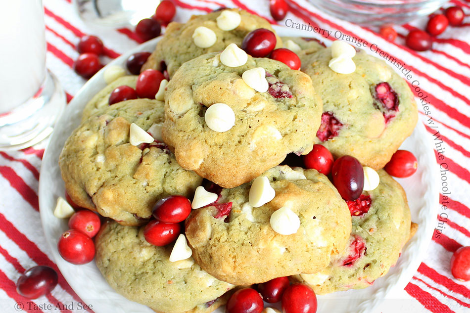 Cranberry Orange Creamsicle Cookies with White Chocolate Chips